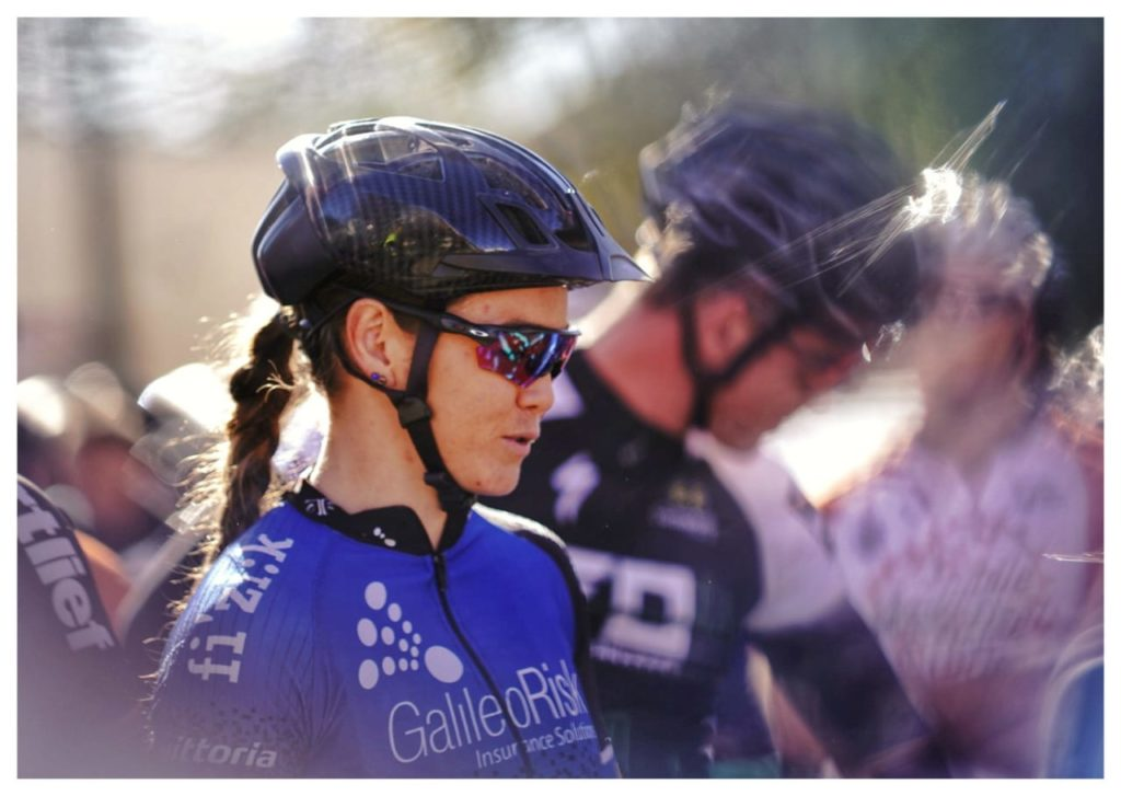 2.	Galileo Risk's Sarah Hill contemplates the challenge ahead; as she lined up to start the 2019 Trans Baviaans in Willowmore on the morning of Saturday the 10th of August. Photo by Jacques Marais