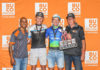 The final BUCO Dr Evil Classic podium featured Martin Schuttertt (second from right) and Matthew Leppan (second from left) while Zack van der Merwe (absent) moved up onto the podium after Siphe Ncapayi had a mechanical. Photo by Oakpics.com.